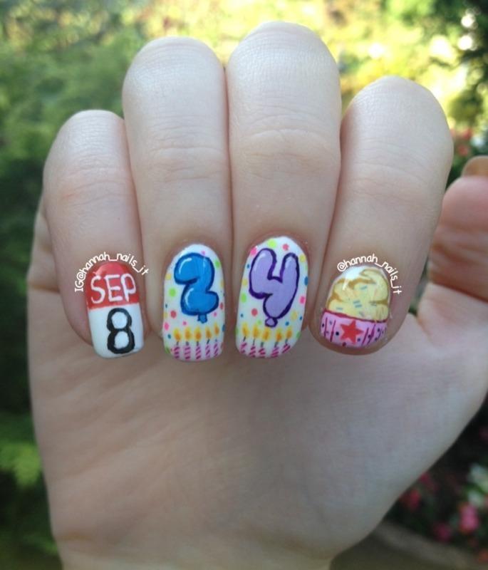 Birthday Girl! nail art by Hannah