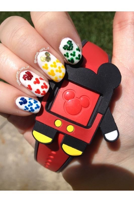 Rainbow Mickey's  nail art by Hannah