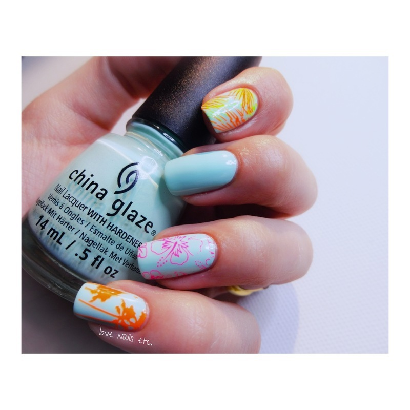 Stamping tropical topatopa nail art by Love Nails Etc