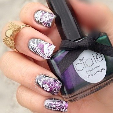 Starlet with Butterfly Wings and Flowers nail art by Debbie