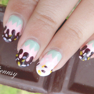 Chocolate Dipped Pastel Colored Strawberry Nails  nail art by madjennsy Nail Art