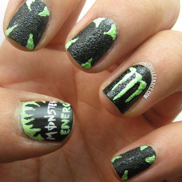 Monster Energy Nails nail art by Hector Alfaro