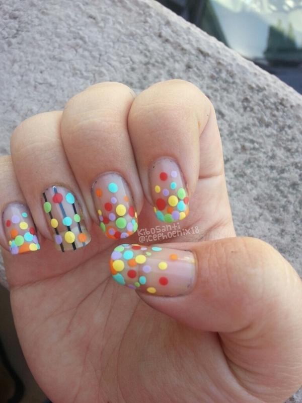 September challenge day 10 dots nail art by KiboSanti
