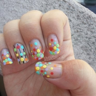 September challenge day 10 dots nail art by KiboSanti
