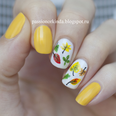 Autumn leaves nail art by Passionorkinda