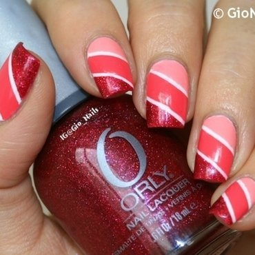 Pink Stripes nail art by Giovanna - GioNails