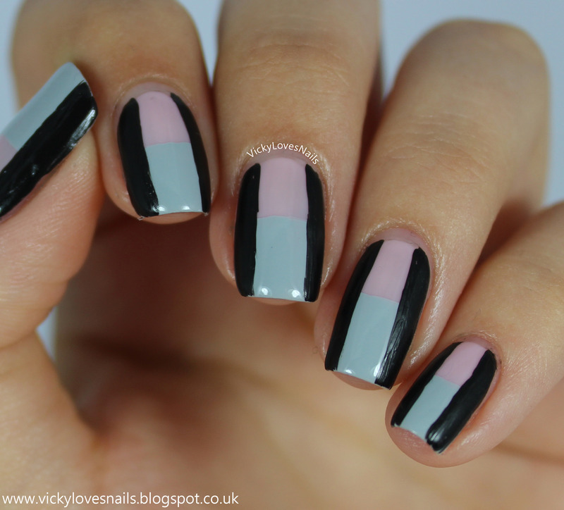 Pink Grey And Black Colour Block Nail Art By Vicky Standage