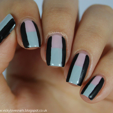 Pink, Grey and Black Colour Block nail art by Vicky Standage