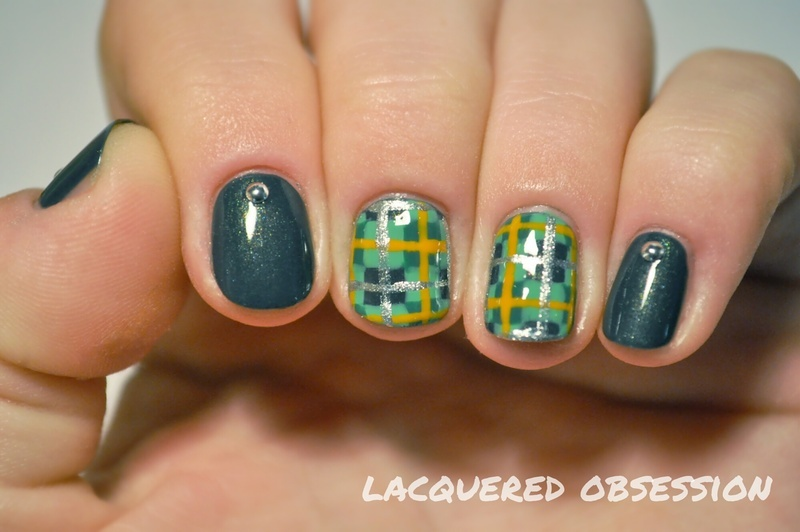 Green tartan nail art by Lacquered Obsession