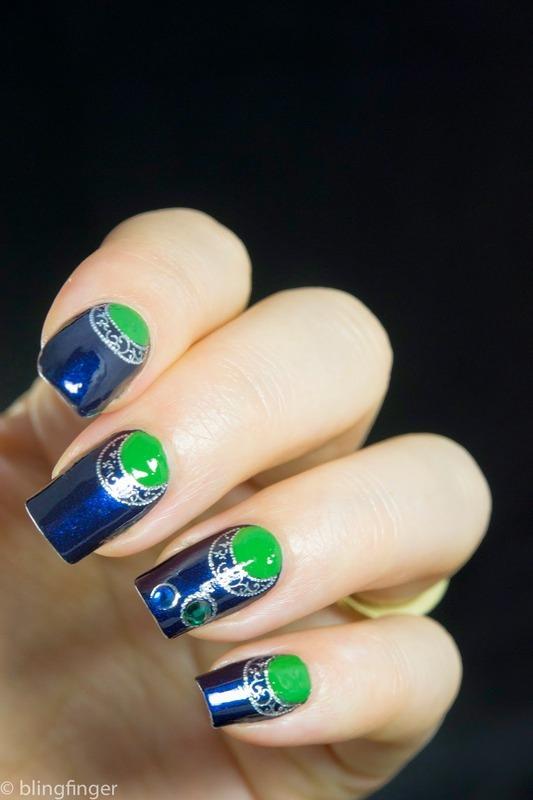 Half Moon Mani & Moon Decals nail art by  Petra  - Blingfinger
