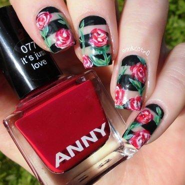 Wild Roses nail art by Ann-Kristin