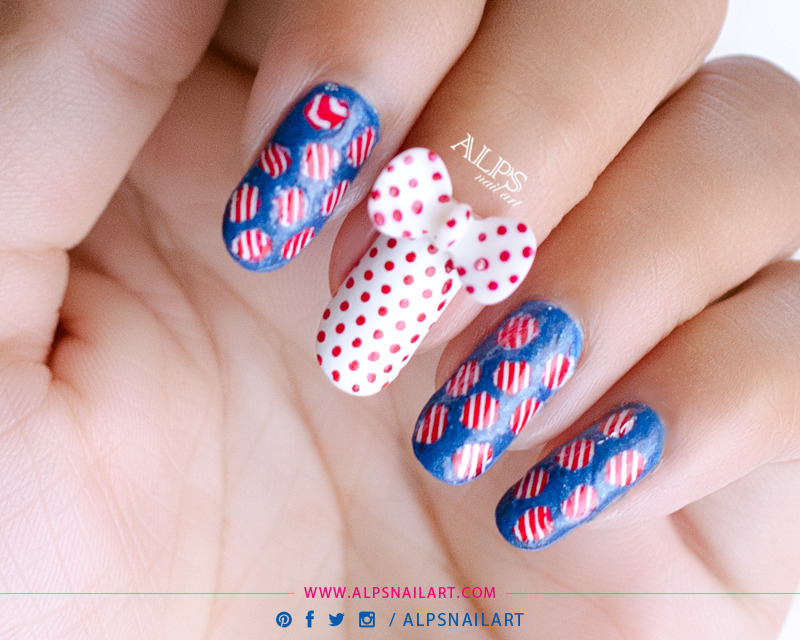 Polka Dot nail art with Stripes nails by @alpsnailart nail art by Alpsnailart