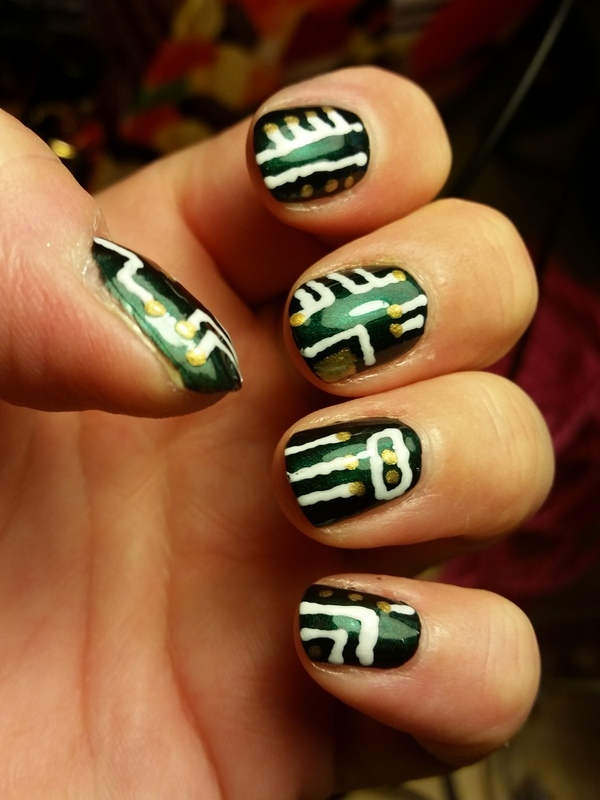 Geeky Circuit Board Nail Art nail art by Lina-Elvira