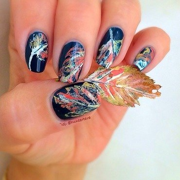 Crunchy fall leaves nail art by Tara Huff