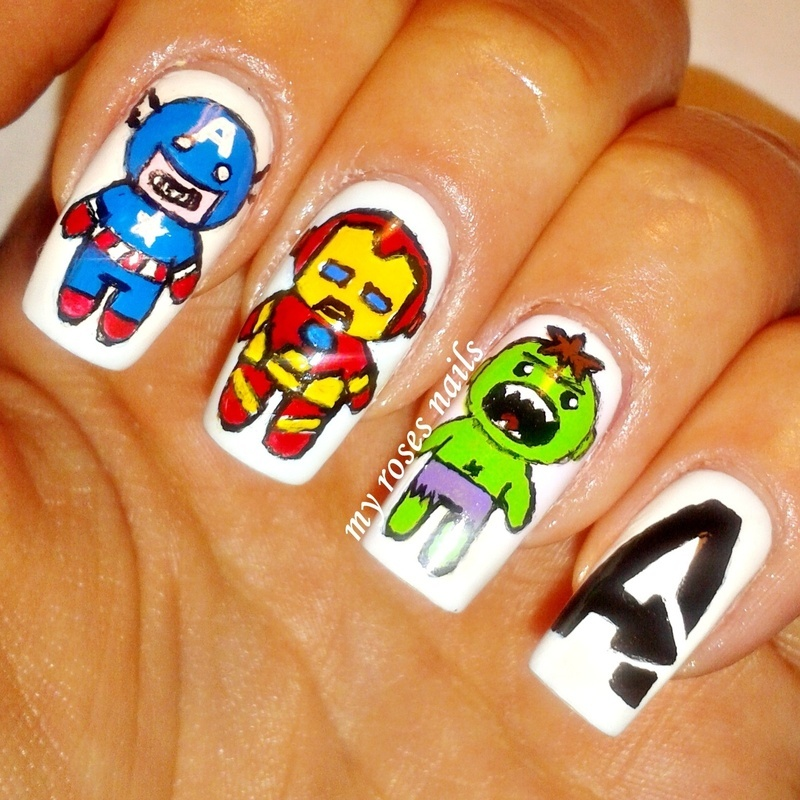 Marvel: The Avengers  nail art by Ewa