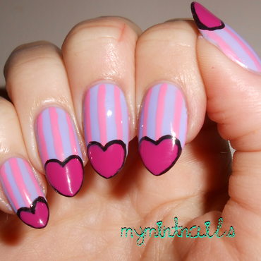 Heart Tips on Stripes nail art by MyMintNails