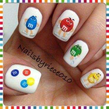 M&M's nail art by Riece
