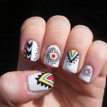 Aztec nails nail art by Yoshiinails