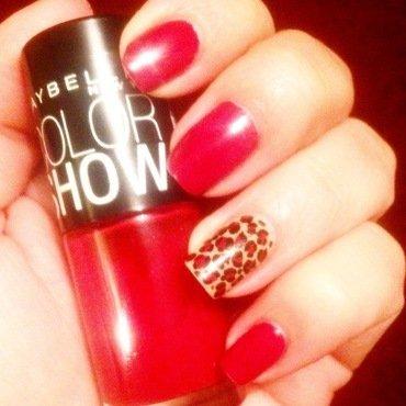 Red Leopard II nail art by Valeska Escobar