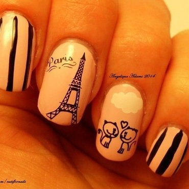 Kittens in Paris  nail art by Angelique Adams