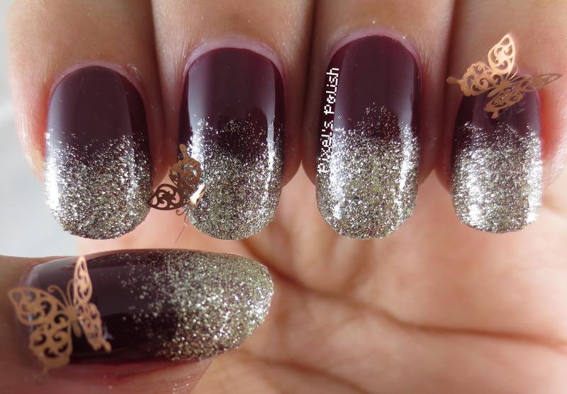 Glittering Fall Gradient nail art by Pixel's Polish