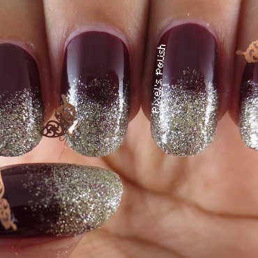 Glittering Fall Gradient nail art by Pixel's Polish