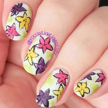 Bright Florals nail art by Jae Harrison