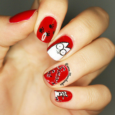 Simon's Cat nail art by Panna Marchewka