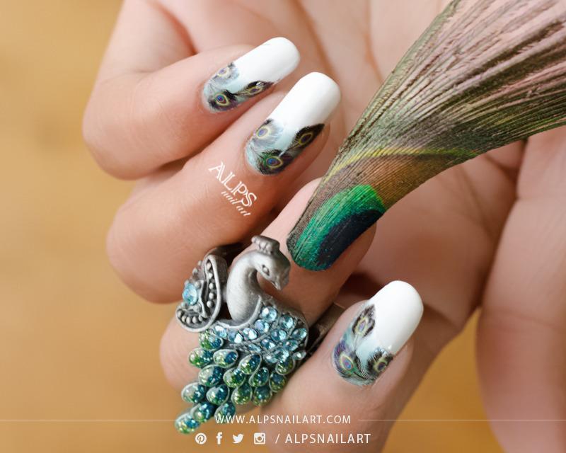 Peacock Feather Nail art by Alpsnailart nail art by Alpsnailart