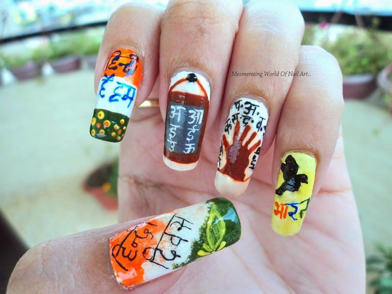 Hindi Divas Nail Art nail art by Anubhooti Khanna