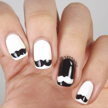 Mustache nail art by  Vanesa