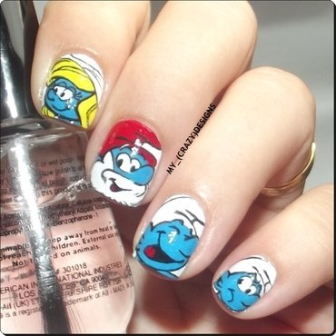 The Smurfs nails nail art by Mycrazydesigns