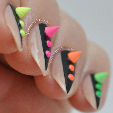 Neon Spikes nail art by HappilyEver Rose