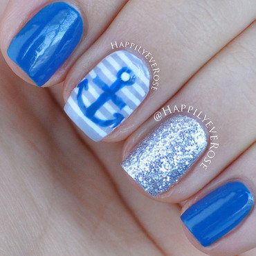Blue Nautical nail art by HappilyEver Rose