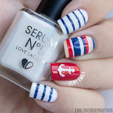 nautical nails nail art by Very Emily