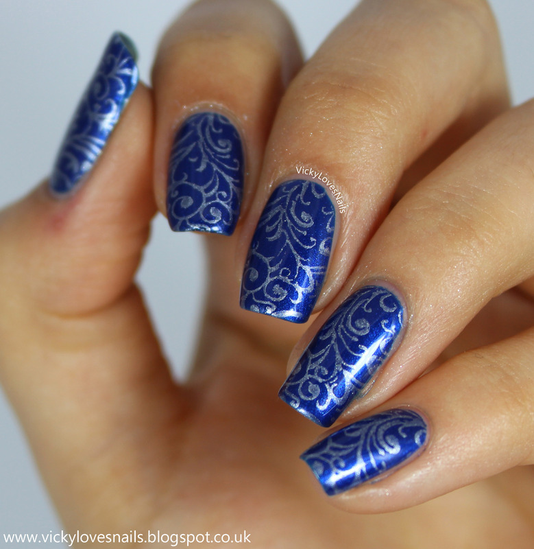 Blue and Silver Stamping nail art by Vicky Standage