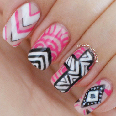 Gel Tribal nail art by HappilyEver Rose
