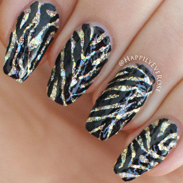 Black & Gold Zebra nail art by HappilyEver Rose