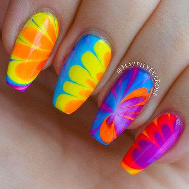 Neon Watermarble nail art by HappilyEver Rose