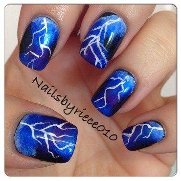 Lightning  nail art by Riece