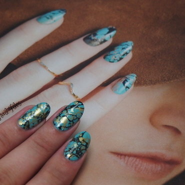 Turquoise Manicure inspired by @StephStoneNails nail art by Kelsie