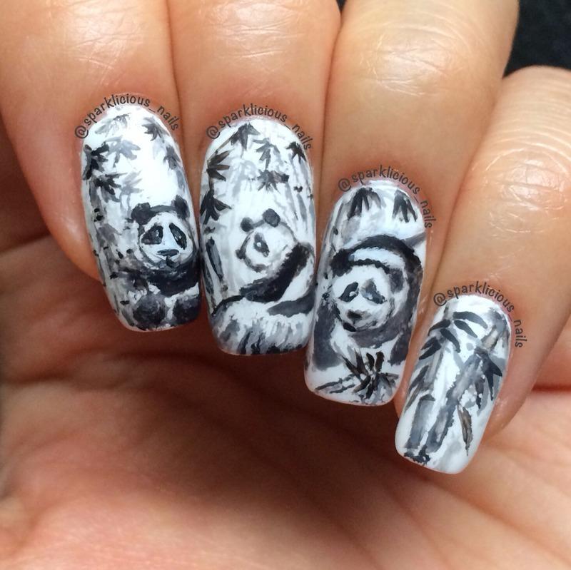 """Pandas & Bamboo nail art by Amanda """"Sparklicious Nails"""""""