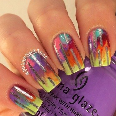 Rainbow Streak nail art by PolishedJess