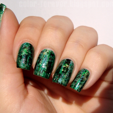 holo & green distressed nails nail art by ania