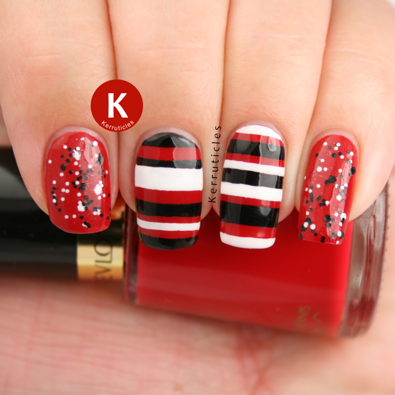 Red, black and white: stripes and glitter nail art by Claire Kerr