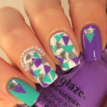 31dc2014 - Day 16 - Geometric  nail art by PolishedJess