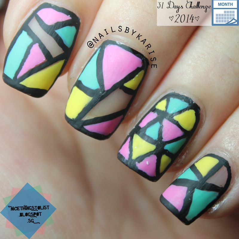 Matte Geometric nail art by Karise Tan