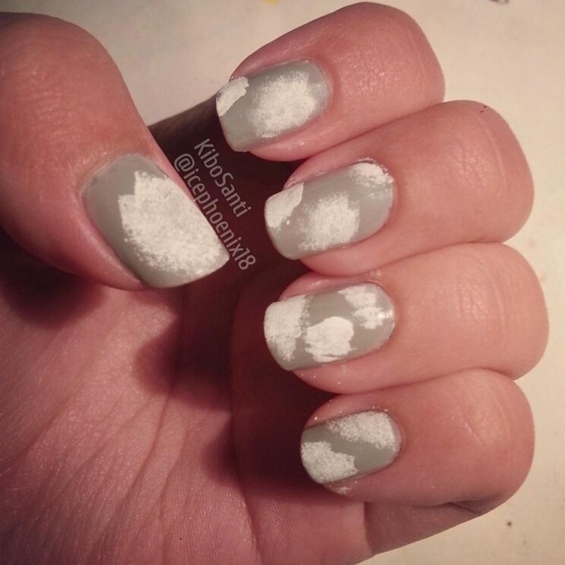 September challenge day 15 Cloudy skies  nail art by KiboSanti
