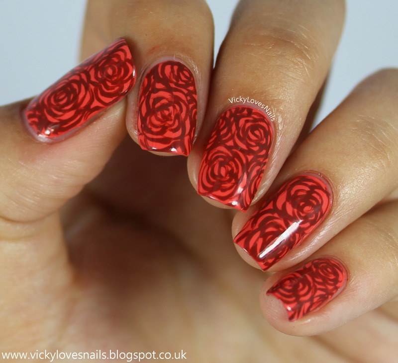Coral Roses nail art by Vicky Standage