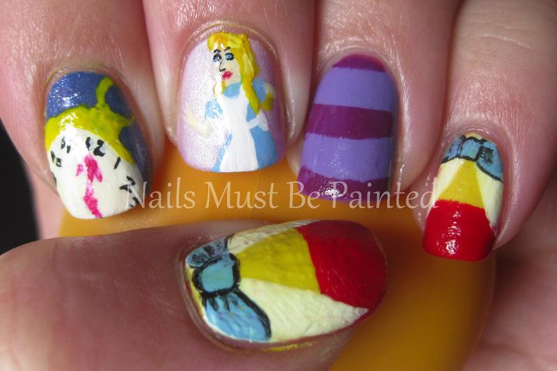 Alice in Wonderland nail art by Emily